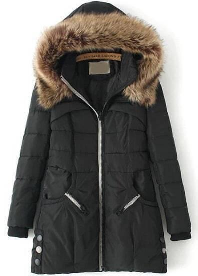 Black Hooded Long Sleeve Slim Coat