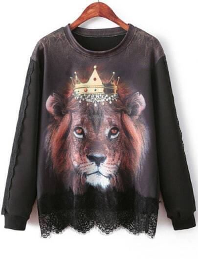 Black Long Sleeve Lion Print Contrast Lace Sweatshirt