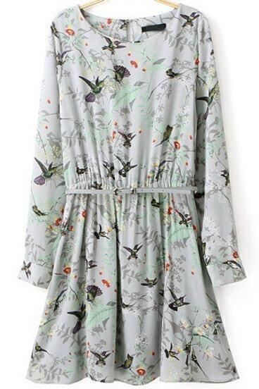 Green Long Sleeve Birds Print Pleated Dress