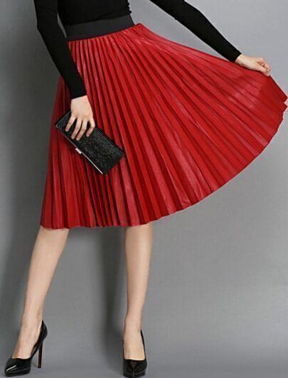 Red High Waist Pleated PU Skirt