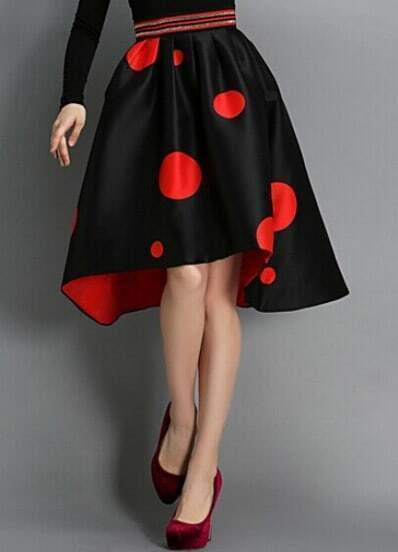 Black High Waist Polka Dot Asymmetrical Skirt