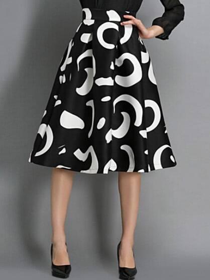 Купить Черно-белая юбка с абстрактным принтом., Masha, SheIn