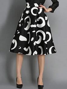 Falda Floral cintura alta-negro
