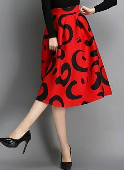 Red High Waist Floral Midi Skirt
