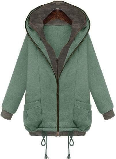 Green Hooded Long Sleeve Pockets Sweatshirt