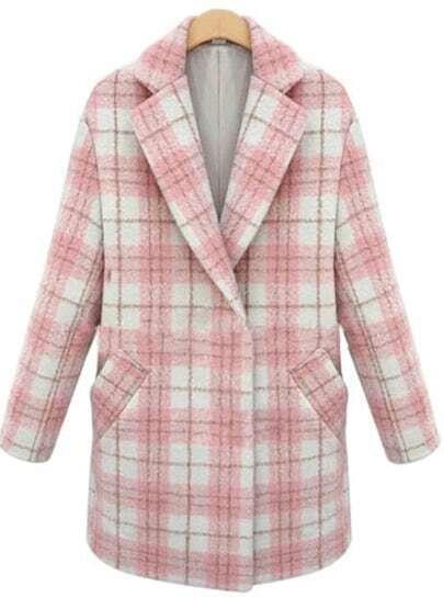 Pink Lapel Long Sleeve Plaid Woolen Coat