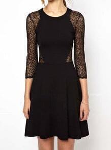 Black Round Neck Lace Hollow Silm Dress