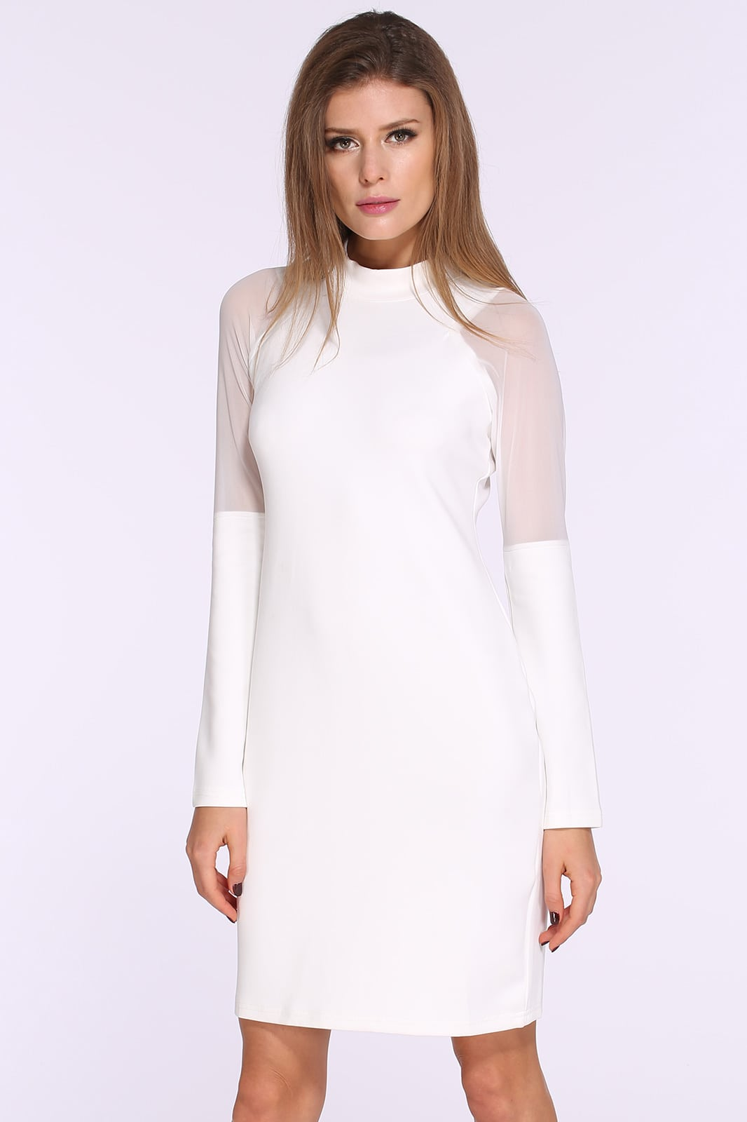 White Stand Collar Long Sleeve Slim Bodycon Dress