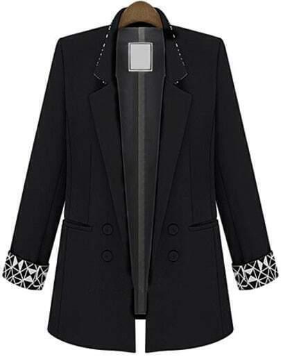 Black Notch Lapel Long Sleeve Fitted Blazer