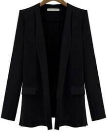 Black Long Sleeve Fitted Pockets Blazer