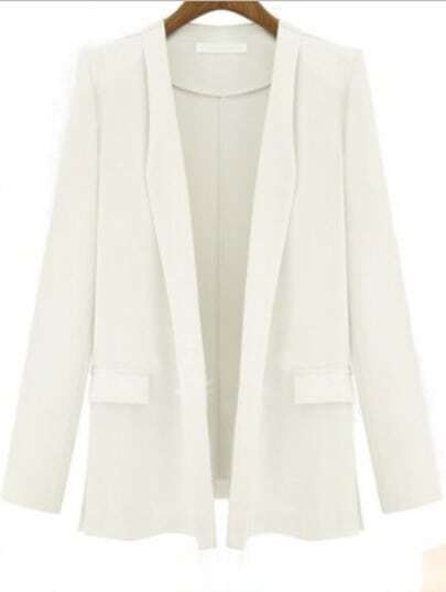 White Long Sleeve Fitted Pockets Blazer