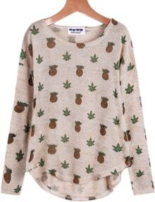 Apricot Long Sleeve Pineapple Print T-Shirt