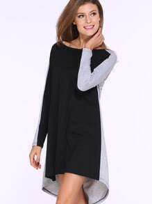 Black Grey Long Sleeve High Low Casual Dress