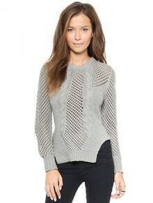 Grey Long Sleeve Hollow Cable Knit Sweater