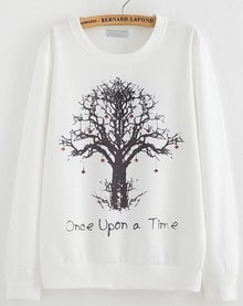White Long Sleeve Tree Print Loose Sweatshirt