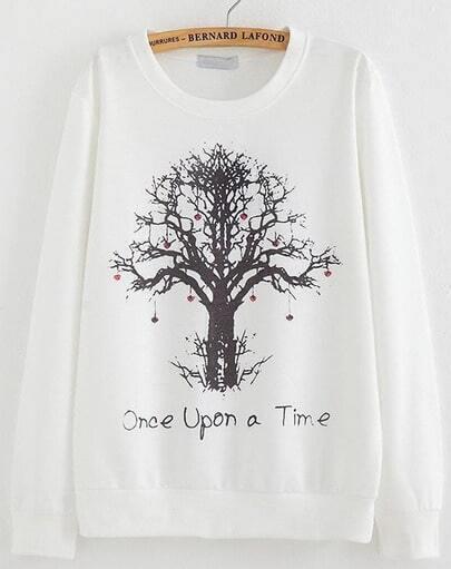 White Long Sleeve Tree Print Loose Sweatshirt