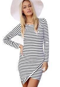 White Long Sleeve Slim Striped Bodycon Dress