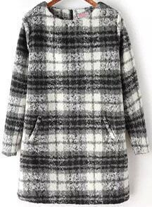 Grey White Long Sleeve Plaid Loose Dress