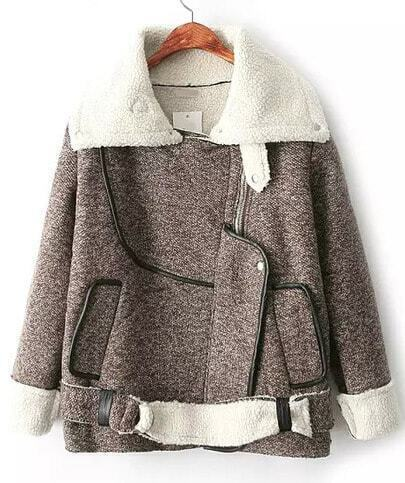 Khaki Lapel Long Sleeve Zipper Coat