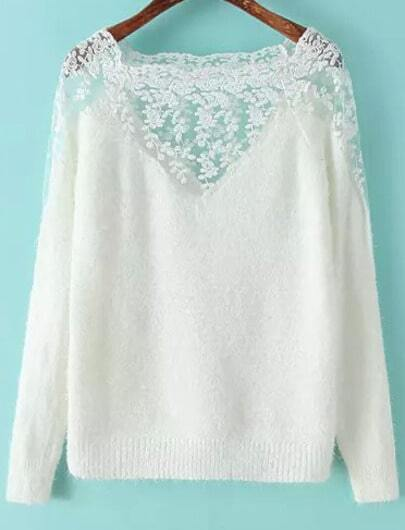 White Long Sleeve Contrast Lace Mohair Sweater