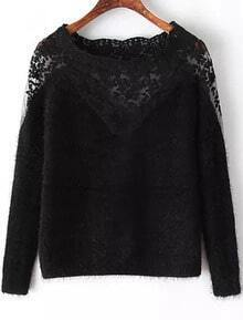 Black Long Sleeve Contrast Lace Mohair Sweater