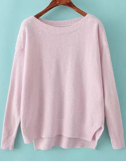 Knitting Patterns For Boat Neck Sweaters : Pink Boat Neck Long Sleeve Knit Sweater -SheIn(Sheinside)