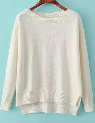 Beige Boat Neck Long Sleeve Knit Sweater