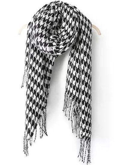 Black White Houndstooth Tassel Scarves