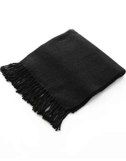 Black Classic Tassel Scarves