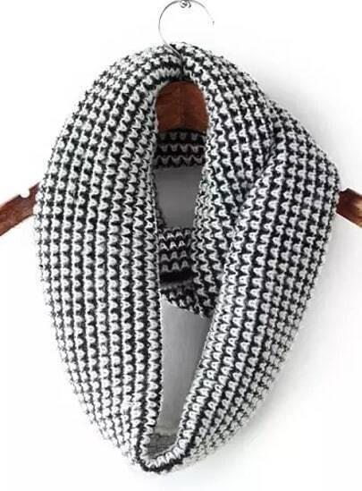 Black White Vintage Knit Scarves