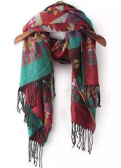Bufanda tribal flecos-rojo