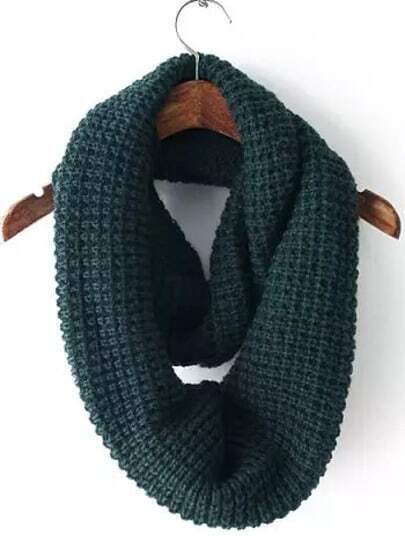 Dark Green White Vintage Knit Scarves