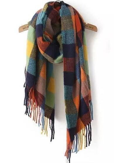 Multicolor Plaid Tassel Scarves