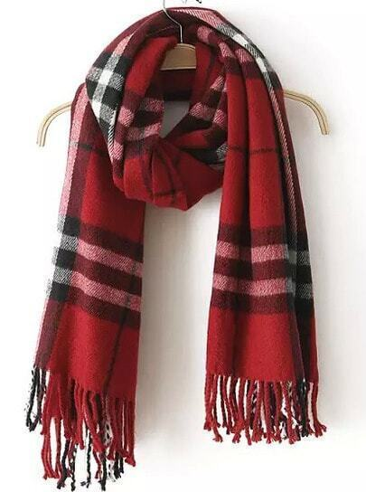 Dark Red Plaid Tassel Scarves
