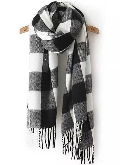 Black White Plaid Tassel Scarves