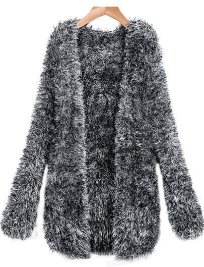 Grey Long Sleeve Shaggy Knit Cardigan