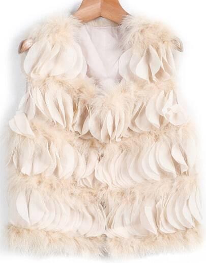 Apricot Sleeveless Ostrich Fur Vest
