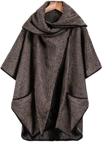 Khaki Lapel Long Sleeve Contrast Trims Loose Coat