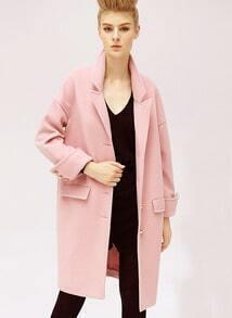 Pink Long Sleeve Lapel Oversized Cocoon Coat