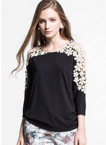 Black Long Sleeve Hollow Lace Casual T-shirt