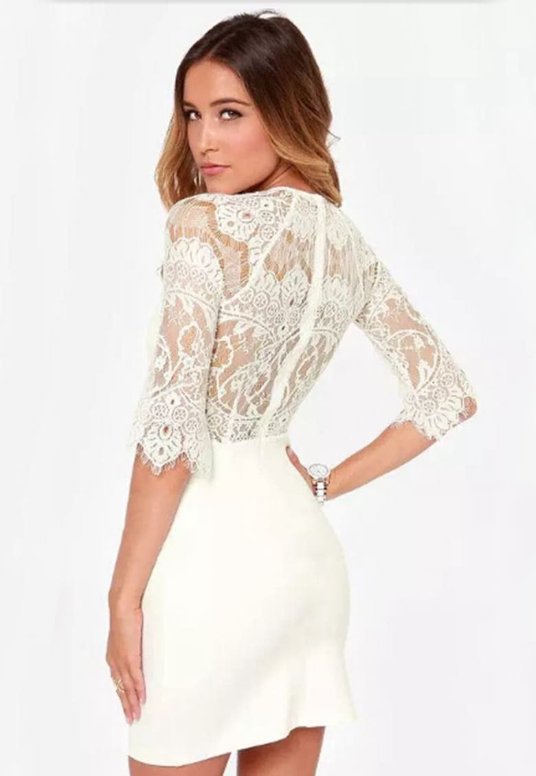 WHITE LACE DRESS - Tamunsa Delen