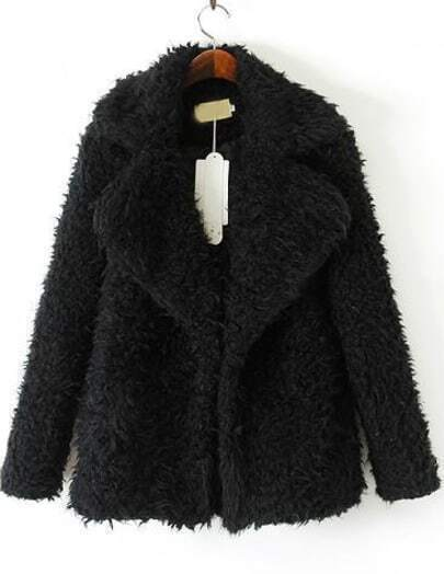 Black Lapel Long Sleeve Faux Fur Coat