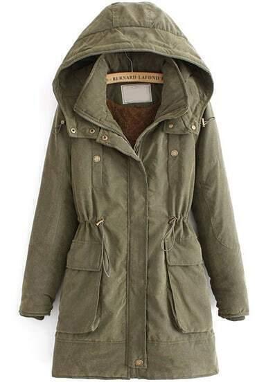 Green Hooded Long Sleeve Drawstring Pockets Coat