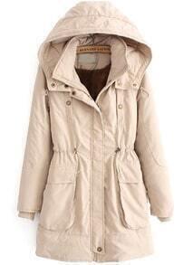 Apricot Hooded Long Sleeve Drawstring Pockets Coat