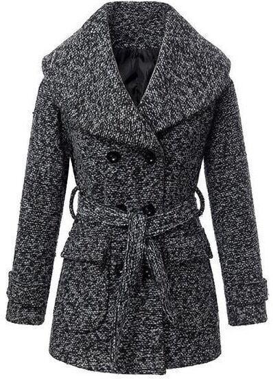 Black Lapel Long Sleeve Belt Woolen Coat