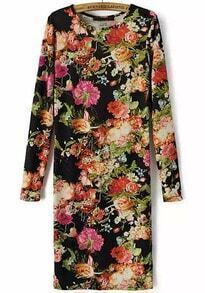 Black Long Sleeve Slim Vintage Floral Dress