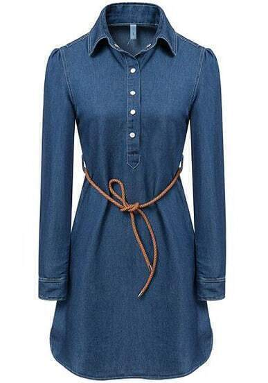 Blue Lapel Long Sleeve Belt Denim Dress