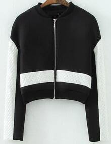 Black White Long Sleeve Zipper Crop Jacket