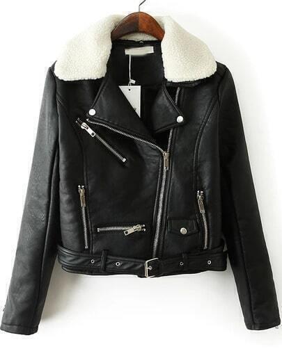 Black Lapel Long Sleeve Zipper Crop Jacket
