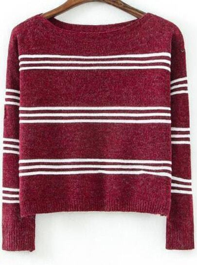 Red Long Sleeve Striped Crop Knit Sweater